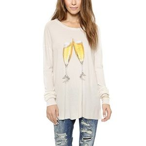 Wildfox long sleeve tee thermal blouse size S